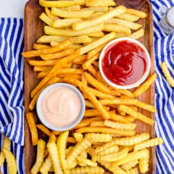 Photos of french fries made in an air fryer.
