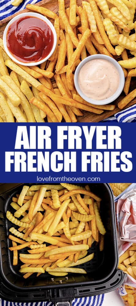 Photos of frozen french fries that were cooked in an air fryer.