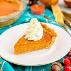 A slice of pumpkin pie.