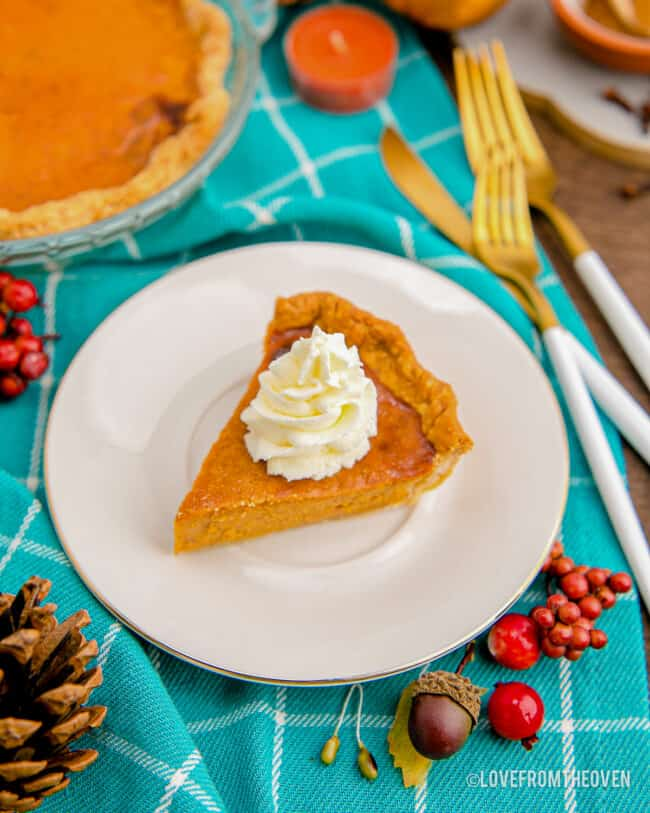 A piece of pumpkin pie on a blue background.