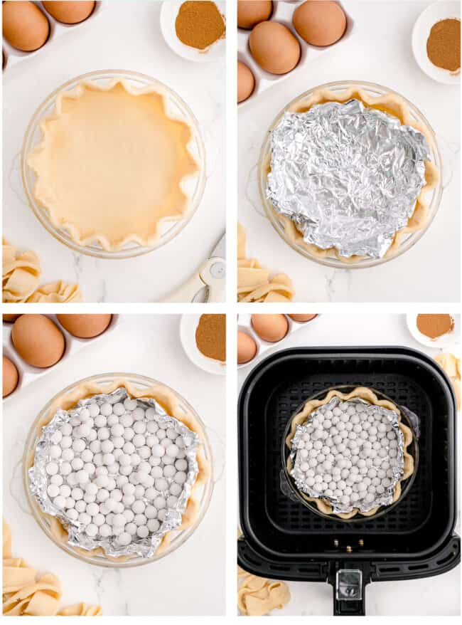 Photos showing how to make pie crust in an air fryer.