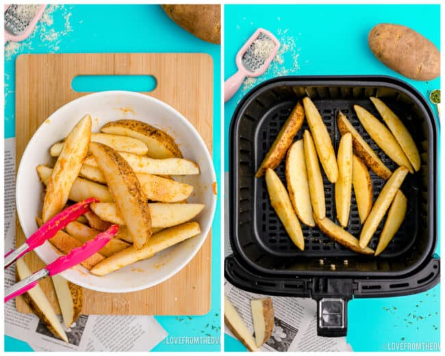 Potato wedges being placed in an air fryer.