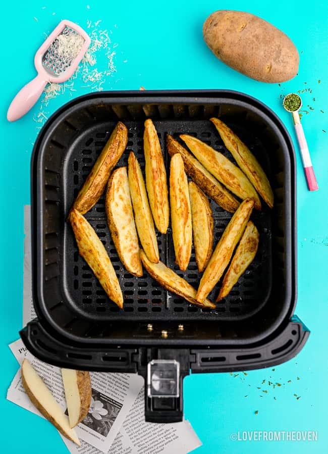 Potato Wedges in an air fryer.
