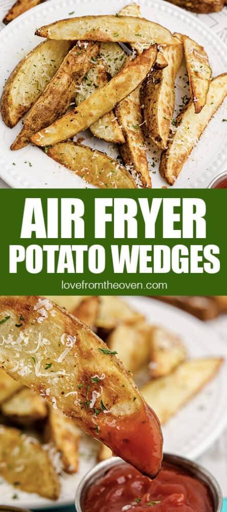 Photos of air fryer potato wedges.