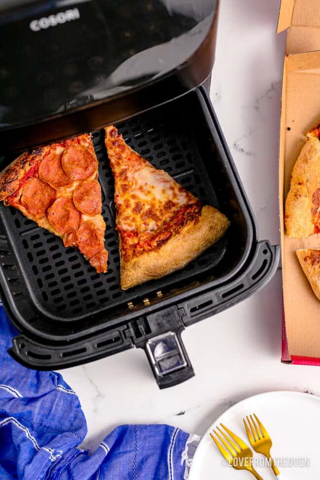 Pizza in an air fryer.