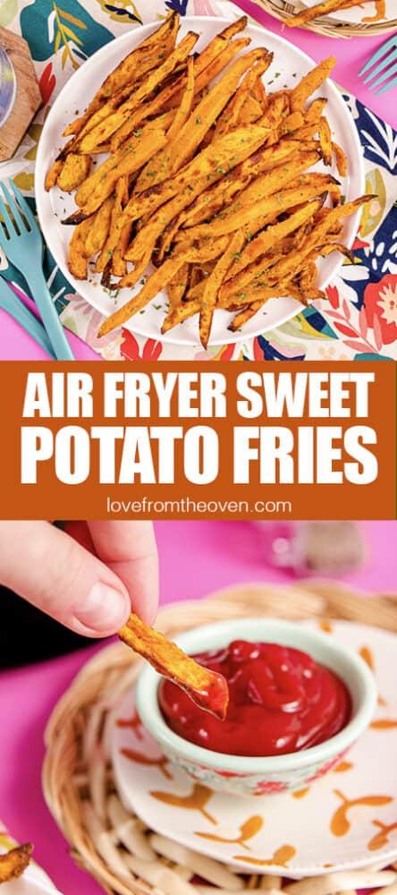 Photo of air fryer sweet potato fries.