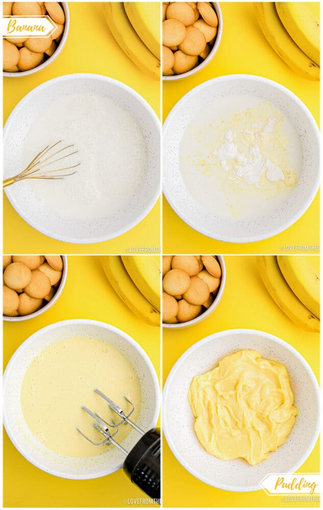 Step by step photos showing how to make banana pudding