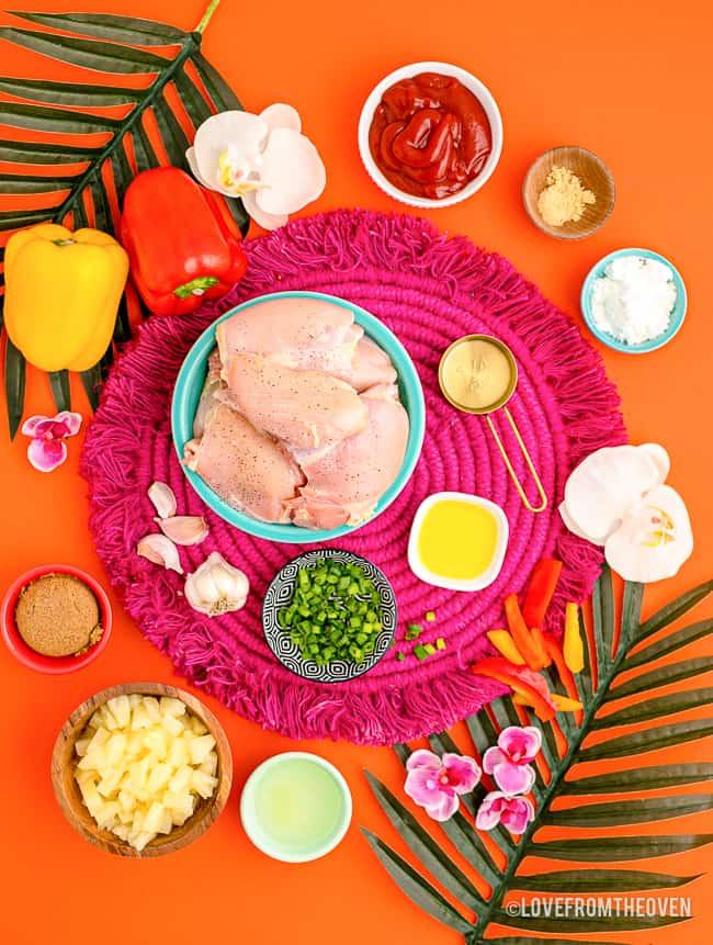 Ingredients to make crockpot Hawaiian chicken.
