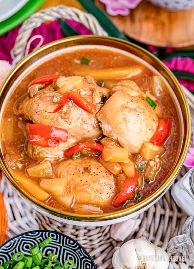 A pan full of Hawaiian chicken.