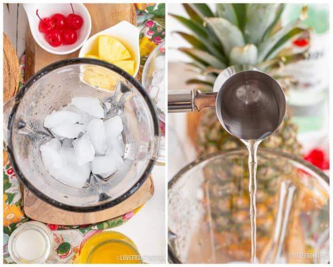 Photos of a pina colada being made.