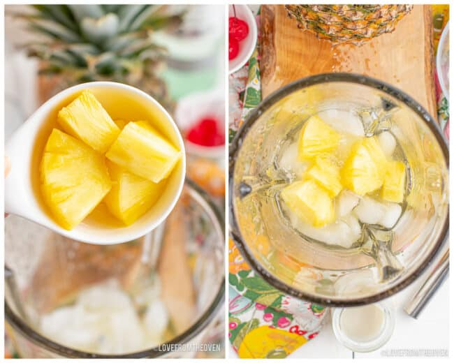 Pineapple being added to a blender.