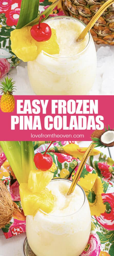 Photos of frozen pina coladas with pineapple and cherries.