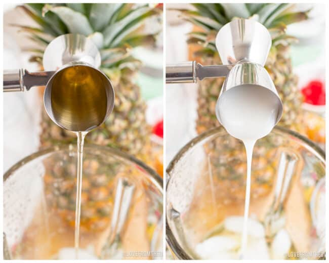 Ingredients being poured into a blender to make a pina colada.
