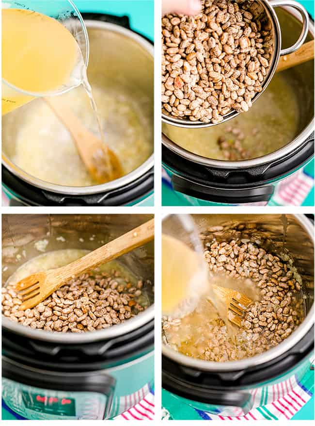 Refried beans being made in an instant pot.