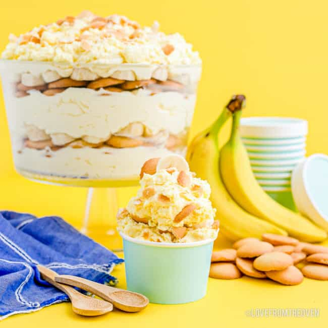 A large bowl and small cup of a magnolia banana pudding copycat recipe.