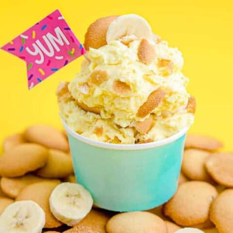A cup of banana pudding on Nilla wafers.