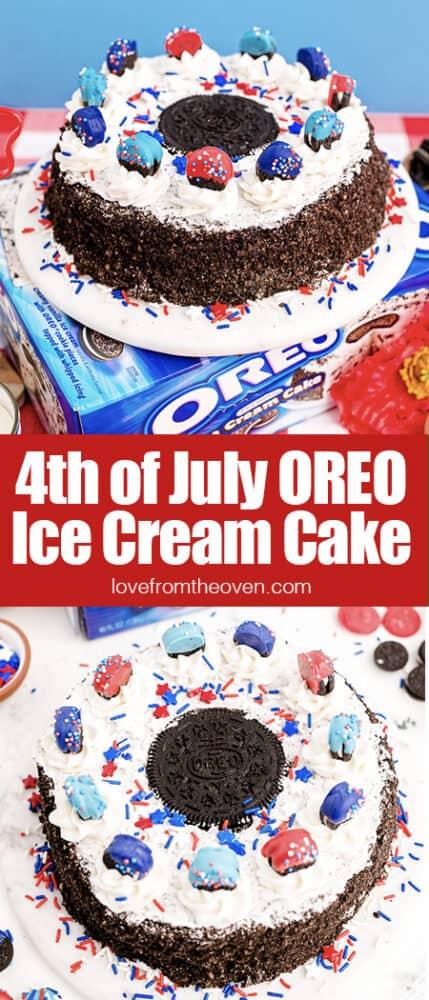 Red white and blue oreo ice cream cake.