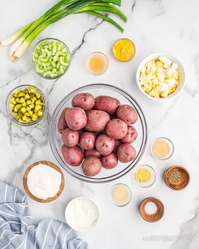 A photo of the ingredients for potato salad.