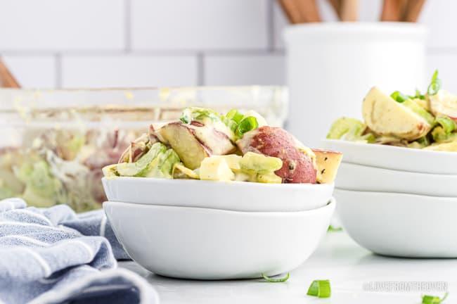 A bowl of red potato salad.