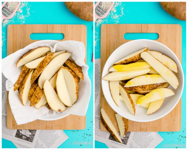 Slices of potato wedges in a bowl about to be cooked.