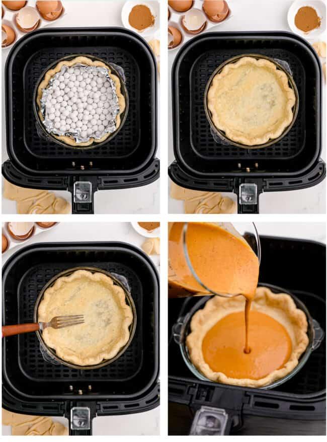 Photos of a pumpkin pie in an air fryer.