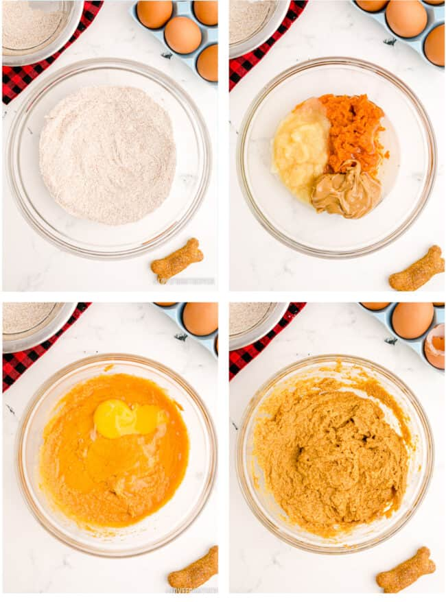 Step by step showing how to make cupcakes for dogs.