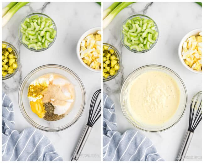 Step by step photos showing how to make potato salad.