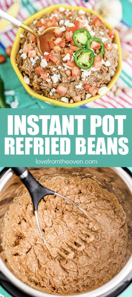Photos of refried beans being made in an instant pot.