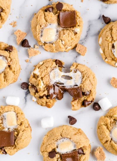 smores cookies on a marble background