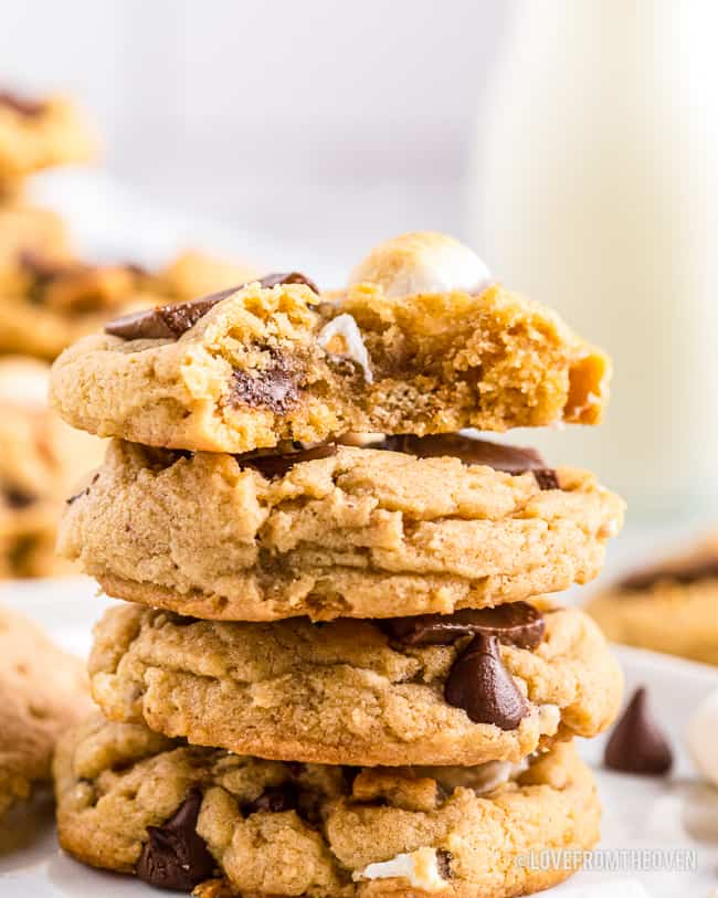 A stack of smores cookies.