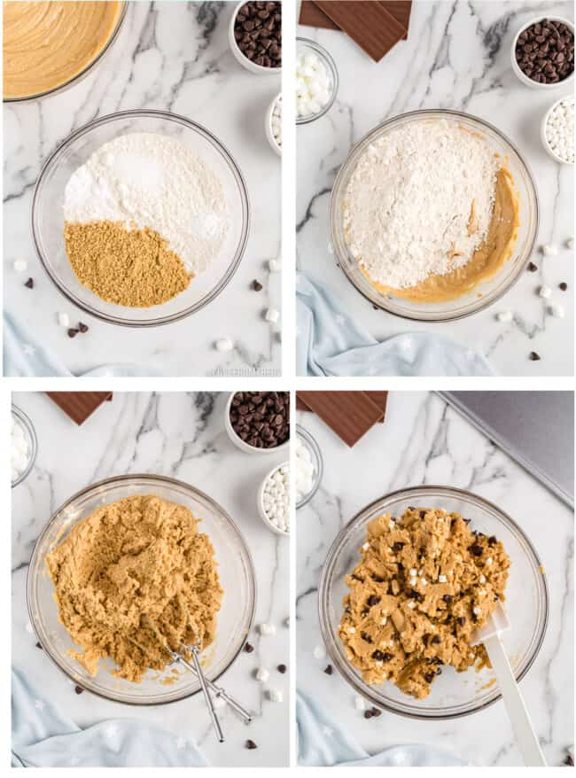 Photos showing how to make smore's cookies.