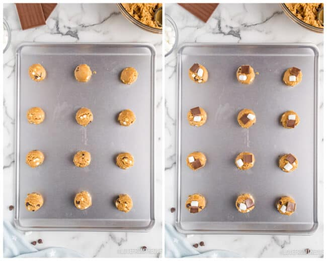 Smores cookie dough on baking sheets.