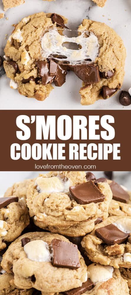Photos of smores cookies.