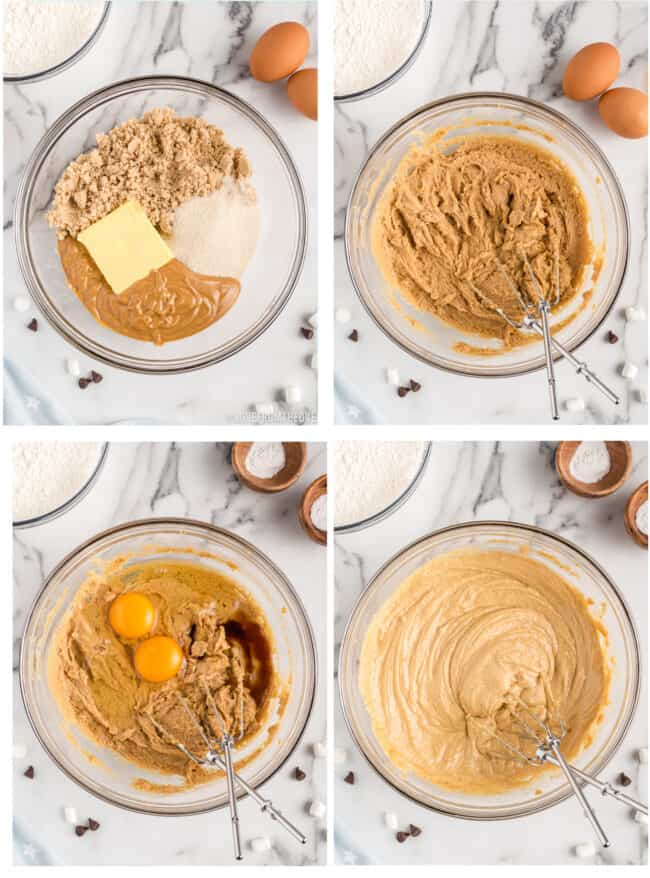 Step by step photos showing how to make smores cookies.
