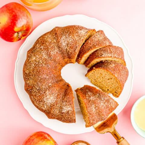 An overhead shot of an apple spice bundt cake.