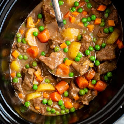 A slow cooker full of beef stew.