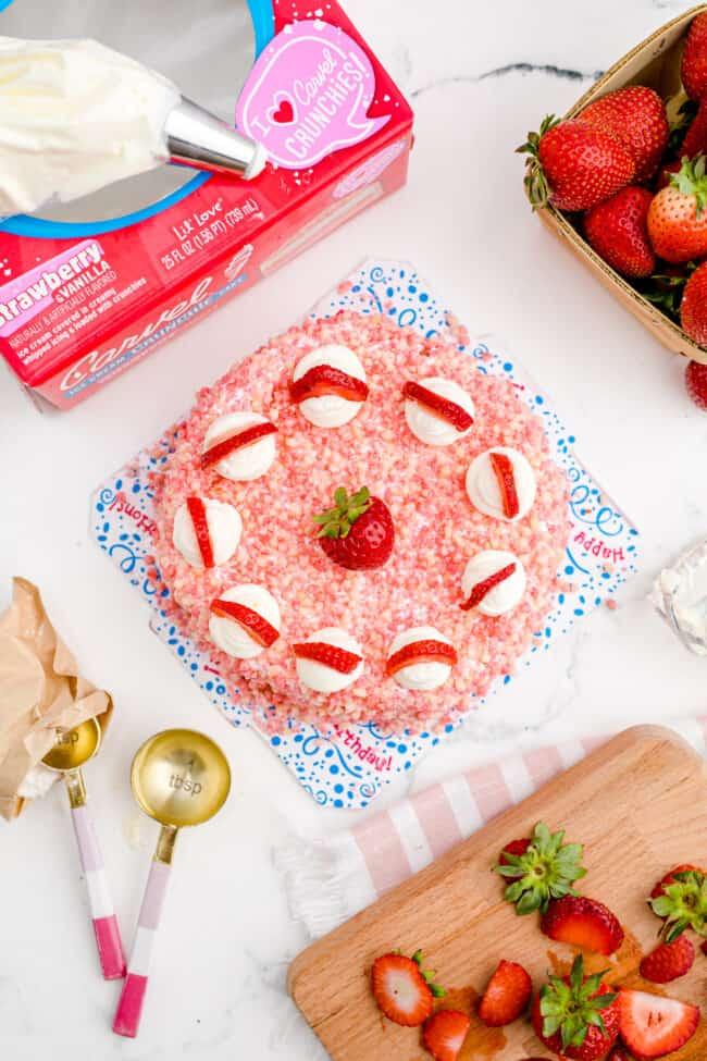 A strawberry ice cream cake.