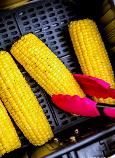 Corn on the cob in an air fryer.