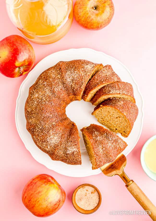 An overhead photo of an apple spice cake.