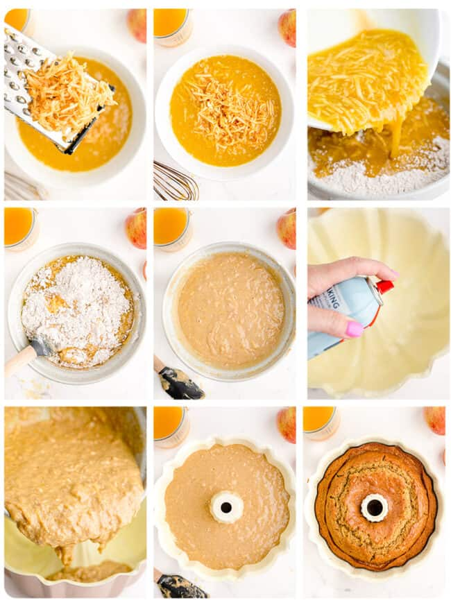 Step by step photos showing how to make an apple cider donut cake.