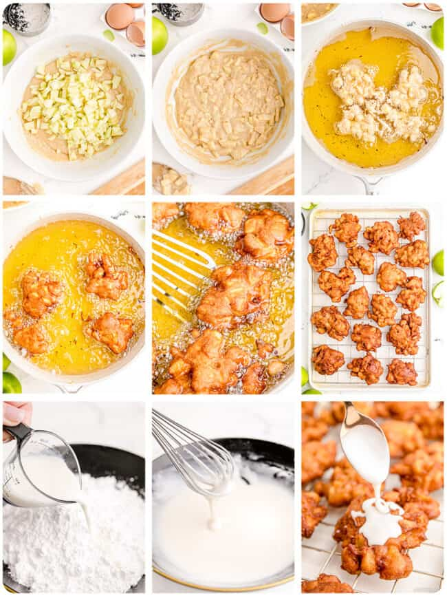 photos showing how to make apple fritters.