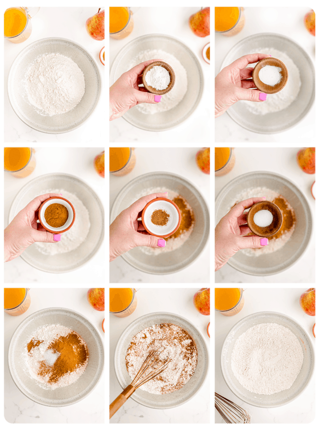 Step by step photos showing how to make an apple spice cake