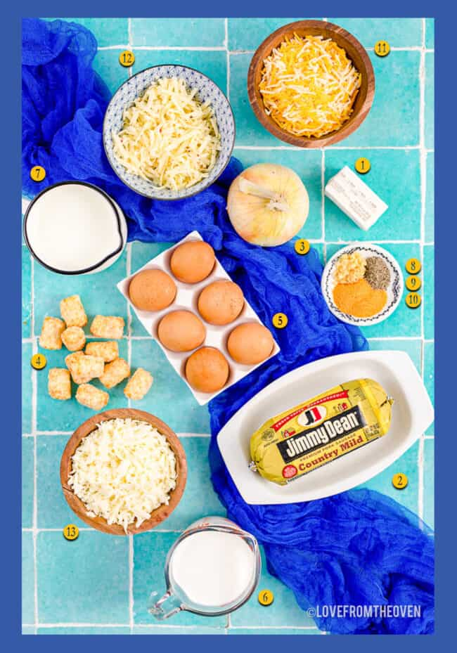 The ingredients to make a breakfast casserole with sausage and tater tots.