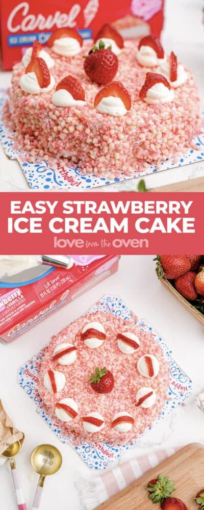 Photos of a strawberry ice cream cake.