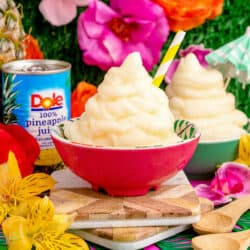 A bowl of pineapple dole whip inspired by Disney parks.
