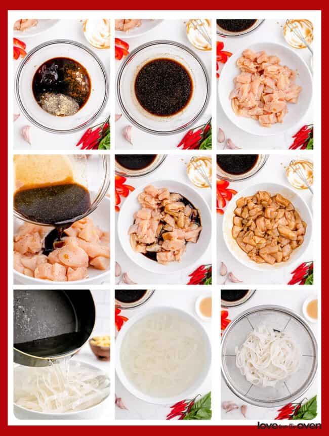 Step by step photos showing how to make drunken noodles.