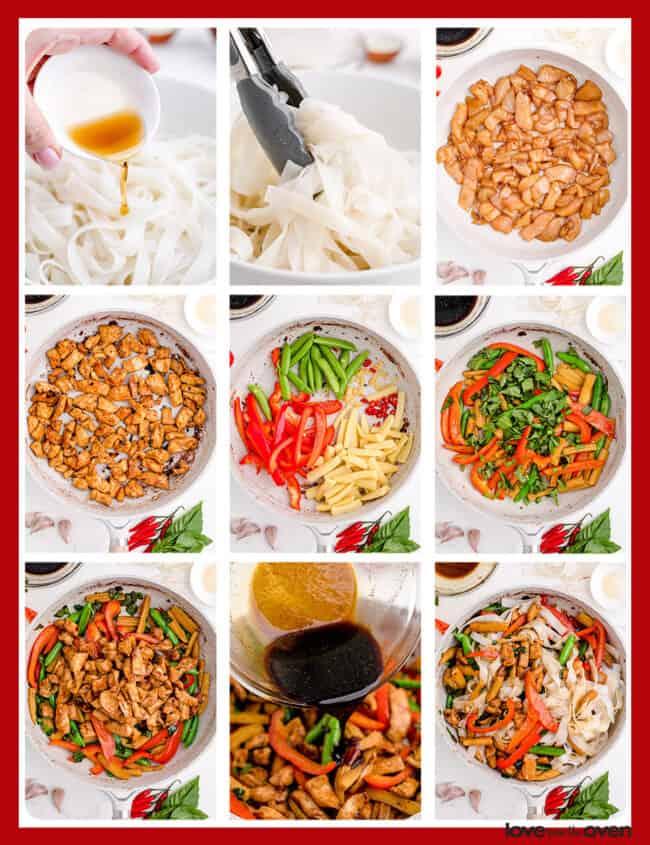 Photos showing how to make drunken noodles.