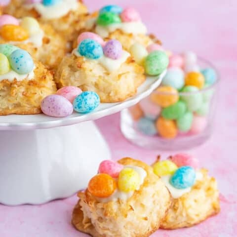 Coconut Easter Cookies on a pink background.