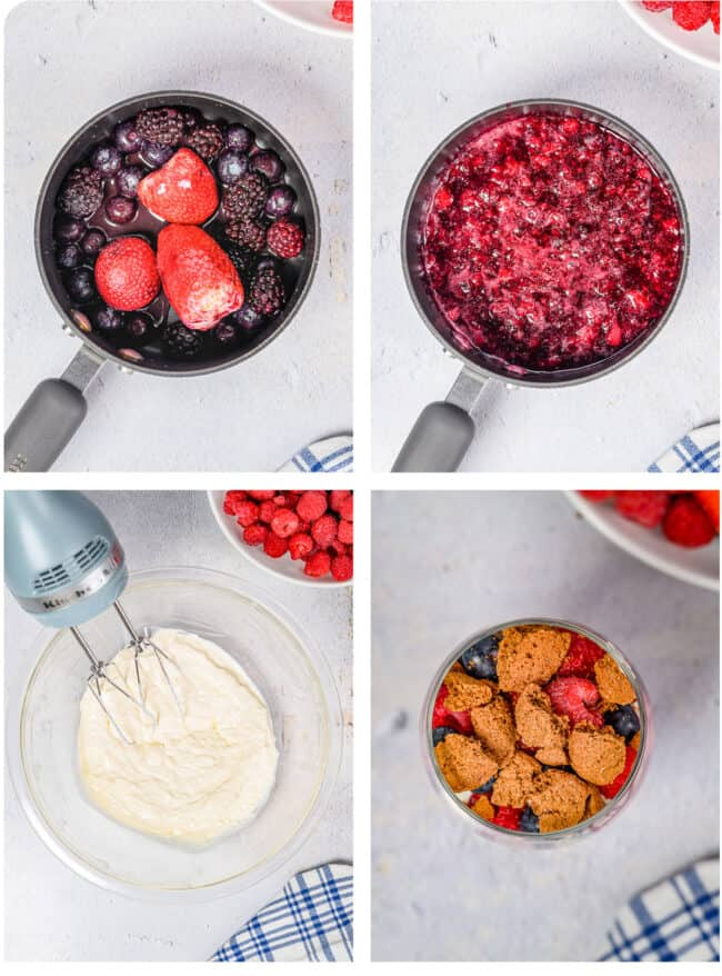 Photos showing how to make berry compote.