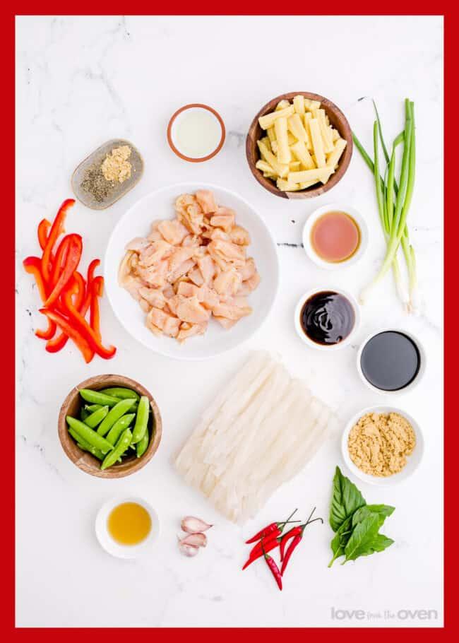 ingredients to make drunken noodles
